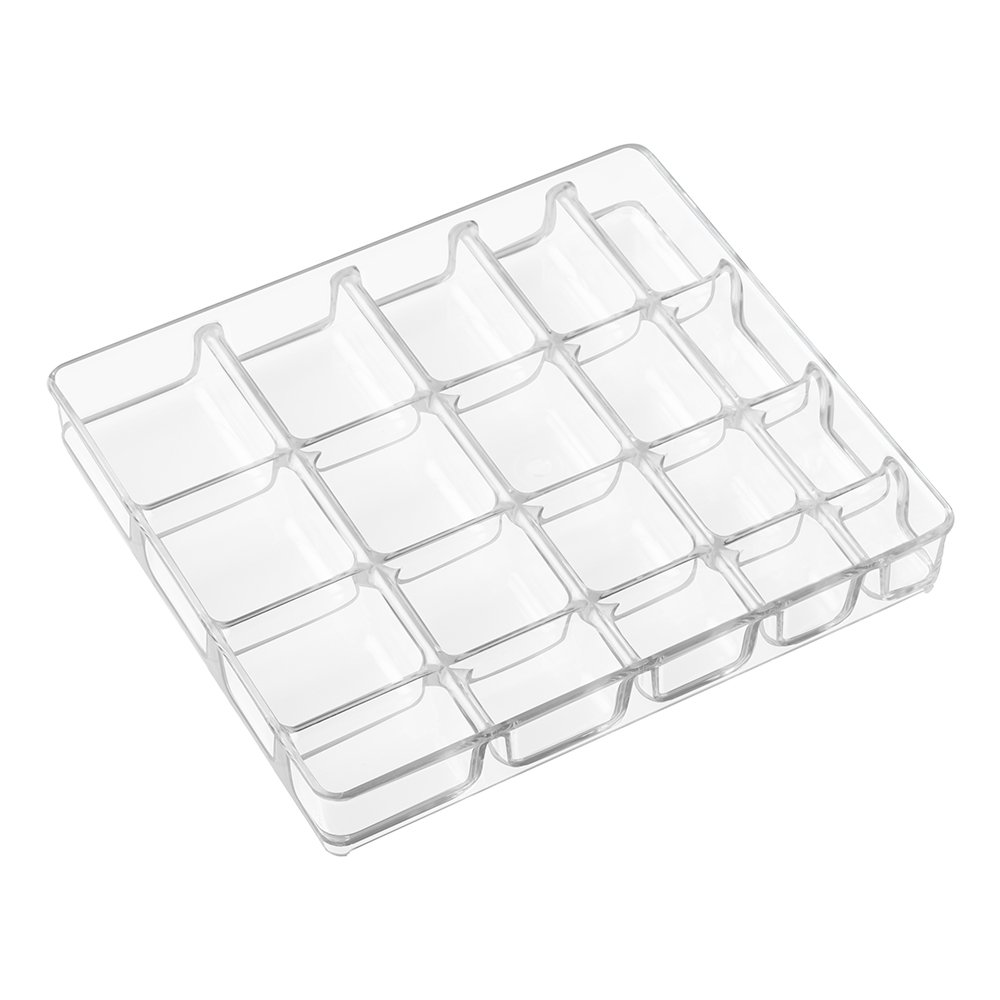 InterDesign Linus Fashion Jewelry Vanity and Drawer Organizer, Tray for Rings, Earrings, Bracelets, Necklaces - Small, Clear Off-White 61230