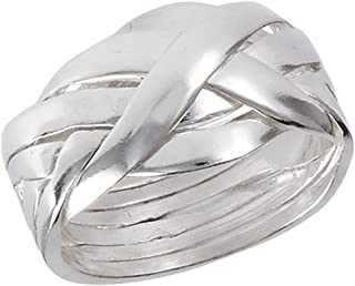 Prime Jewelry Collection Sterling Silver Women's Interlocking Celtic Knot 6 Piece Puzzle Ring (Sizes 6-12)