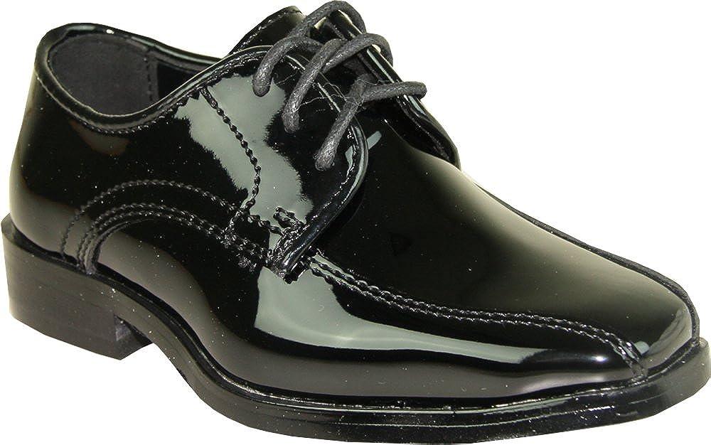 VANGELO Boy Tuxedo Shoe TUX-5K Square Toe Wrinkle Free Material Black Patent 9K