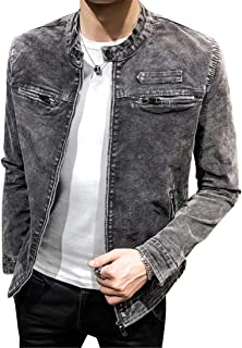 Jofemuho Men Vintage Solid Casual Moto Biker Slim Fit Stand Collar Denim Jacket Jean Coat