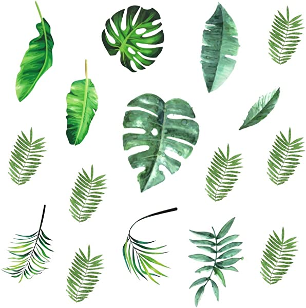 Leaf Wall Decals H2MTOOL 64 PCS Removable Tropical Plants Tree Leaves Stickers For Kids Nursery Room Decor Green Leaves