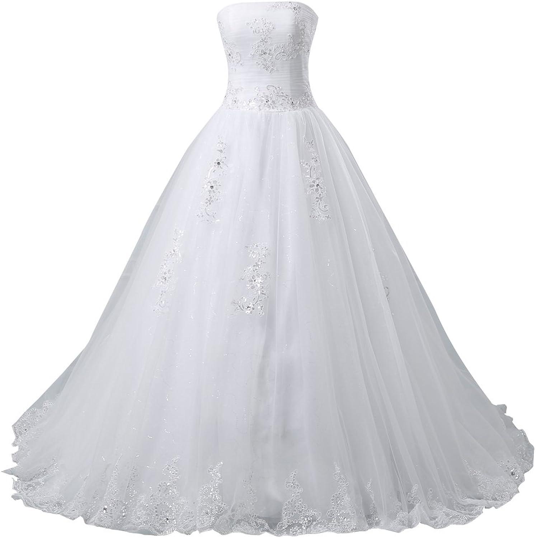 HONGFUYU Elegant Strapless Wedding Dress for Bride 2017 Bridal Ball Gowns