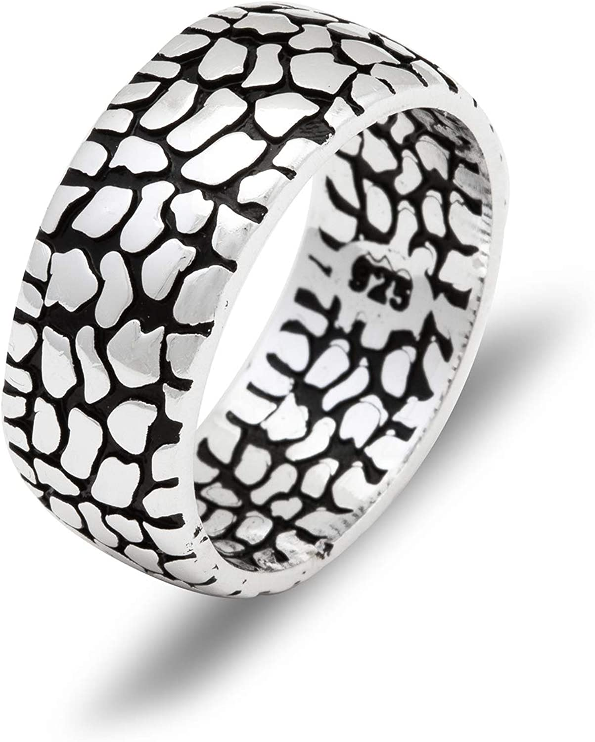 Chicotta Men's Pebble Design Solid Cheap Outlet ☆ Free Shipping Sterling Band Ring Silver