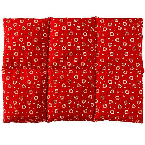 Coussin aux graines de lin 40x30 - Compresse chaud ou froid - Grande bouillotte sèche - Coussin thermique (6 compartiments; Design: Rouge avec des coeurs)