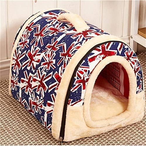 nobrand lichtgewicht comfortabel huisdier bed, huisdier hond kat bed opvouwbare winter zachte gezellige slaapzak mat kussen huisdier slapen Igloo huis kussen bed, Large, E