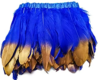 wanjin Duck Goose Feathers Trim Fringe Craft Feather Clothing Accessories Pack of 2 Yards(Royal Blue and Gold)
