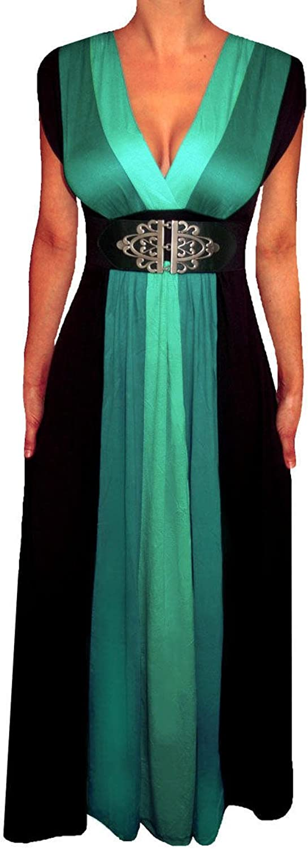 FUNFASH WOMENS PLUS SIZE SLIMMING BLACK COLOR BLOCK LONG MAXI PLUS SIZE DRESS