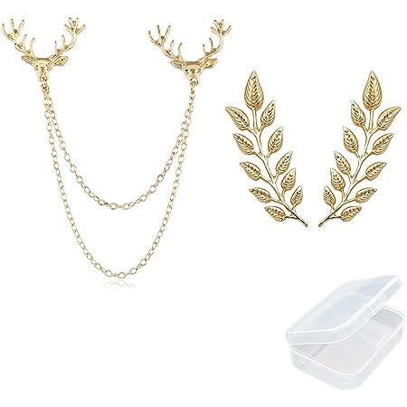 PPX 1 pz Testa di Cervo Catene a Doppio Collegamento e 1 paio Elegante Spilla in Oro con Foglia di Grano Vestito Colletto Spilla Unisex con Scatola