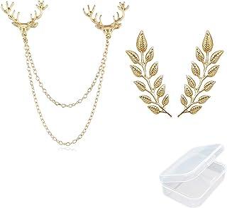 PPX 1 pz Testa di Cervo Catene a Doppio Collegamento e 1 paio Elegante Spilla in Oro con Foglia di Grano Vestito Colletto ...
