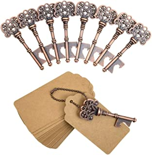 DerBlue 60 PCS Key Bottle Openers,Vintage Skeleton Key Bottle Opener,Skeleton Key Bottle Openers Wedding Favors Antique Rustic Decoration with Escort Tag Card (Copper)