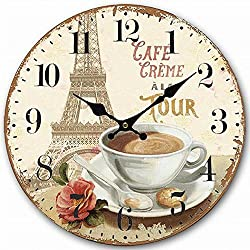 HQF 12 French Style Wall Clock, Eruner Silent Bedroom Clock Lovely Wooden MDF Unframed Design Unique Distressed Effect Dining Room Clock Attactive Timepiece