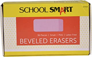 School Smart Beveled Erasers, Small, Pink, Pack of 36