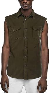 a0f9ed1340d009 SOOPO Camicia Senza Maniche Camicia a Quadri Uomo Jeans, Camicia per  L'Estate graziosa