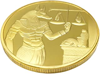 TENDYCOCO Golden Ancient Egypt Anubis Commemorative Coin Antique Collection Arts Soul Guardian Anubis Souvenir Gift Iron C...