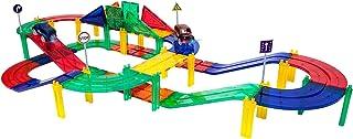PicassoTiles 50 Piece Race Car Track Building Block Educational Toy Set Magnetic Tiles Magnet Diy Playset 2 Light Up Car S...