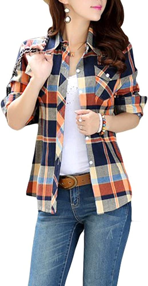 Lasher Female Cotton Casual Plaid Button-up Shirts