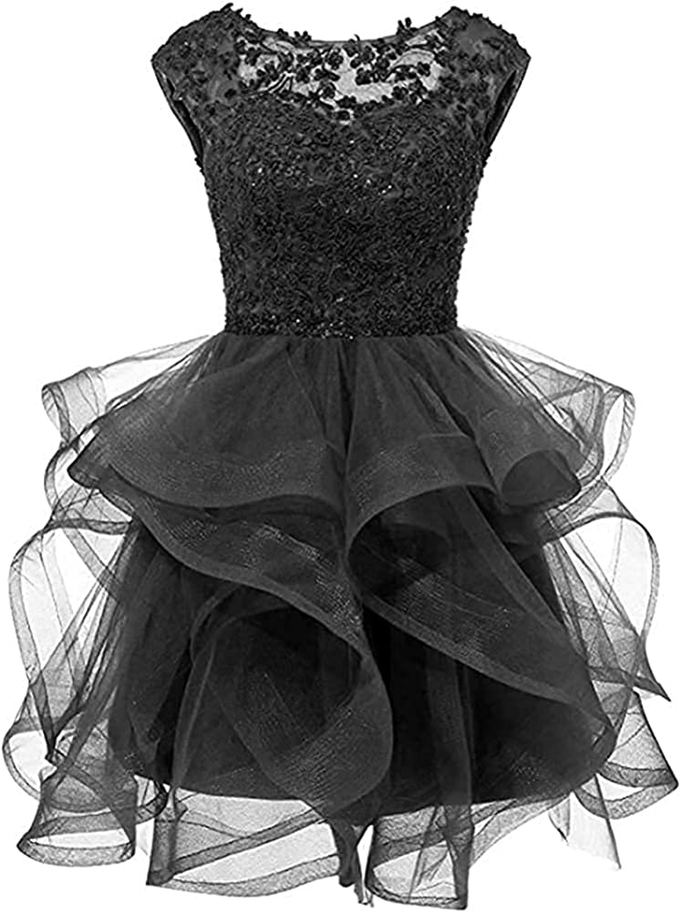 A Line Lace Homecoming Cocktail Dresses Short Beaded Prom Dress for Juniors Black