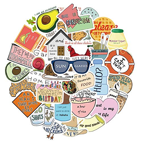 BLOUR 50 unids/Lote, Paquete de Pegatinas Vsco de Dibujos Animados Bonitos para Chicas Simples, DIY para Equipaje de Ordenador portátil, monopatín, Juguete, Pegatinas Impermeables