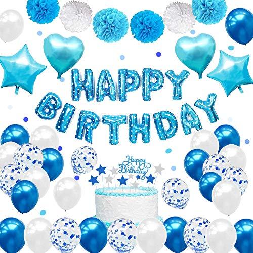 PushingBest Geburtstagsdeko, Blau Party Deko Set mit Blau Alles Gute zum Geburtstag Girlande Ballons Torten Toppers Konfetti Ballons Folien Latex Luftballons für Jungen Mädchen Männer Frauen