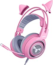 PC Music Gaming Headphone Kids Girl PC Wired Headset Kitty Ear Noise Reduction auto Adjusting Versatile Compatibility Earp...