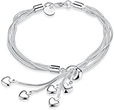 Yellow Chimes Hanging Charms Sterling Silver Plated Charm Bracelet & Necklace for Women & Girls