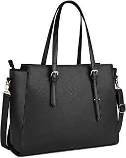 Laptop Bag for Women 15.6 Inch Waterproof Laptop Tote Bag Large Leather Computer Briefcase Womens Business Professional Office Work Bag Lightweight Shoulder Handbag,Black