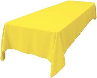 LA Linen Polyester Poplin Rectangular Tablecloth, 60 x 108, Light Yellow