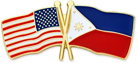 PinMart USA and Philippines Crossed Friendship Flag Enamel Lapel Pin