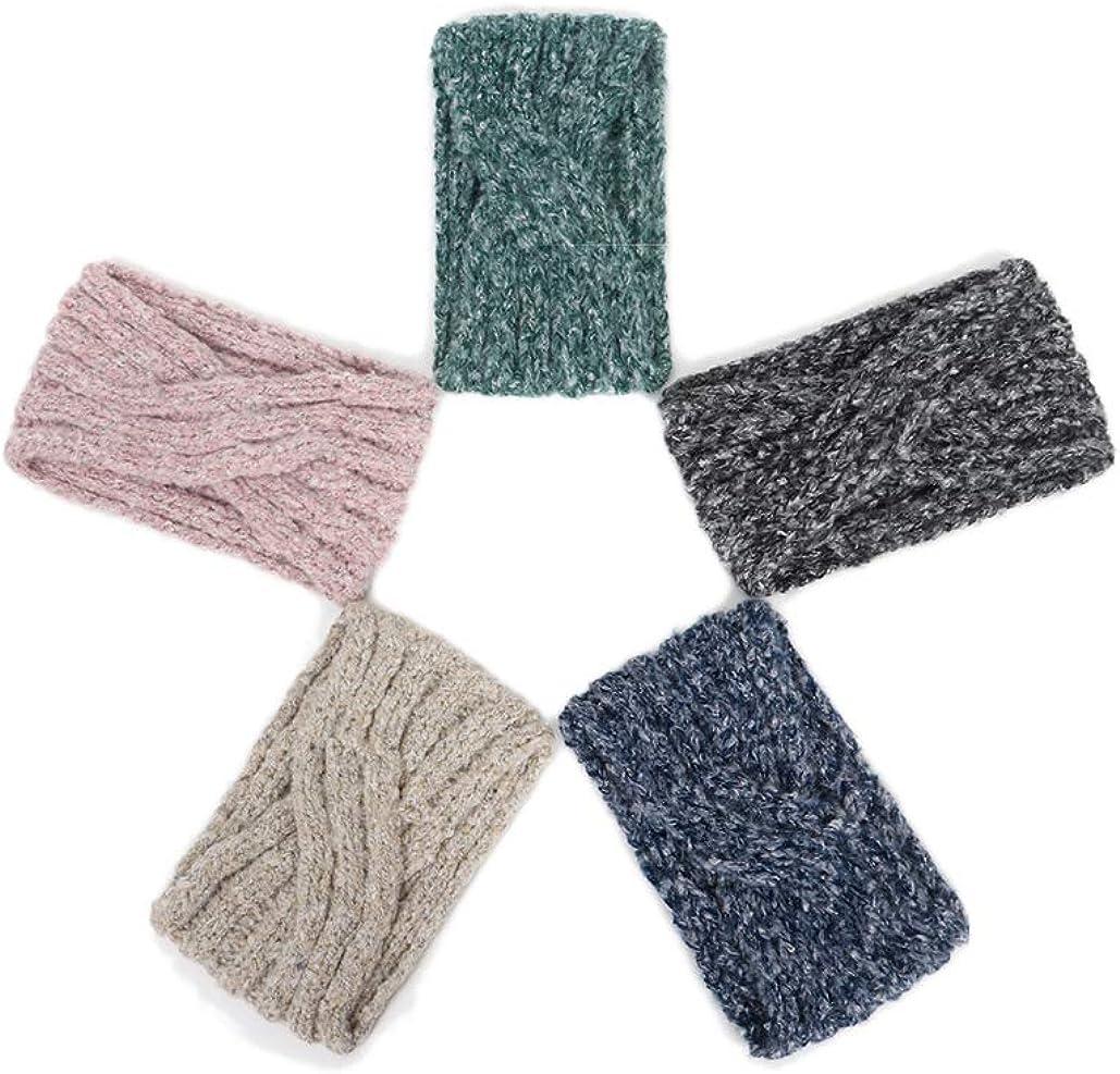 Elifemona Women Fashion Crochet Twist Headband Knitted Arm Warmer Winter Headwrap