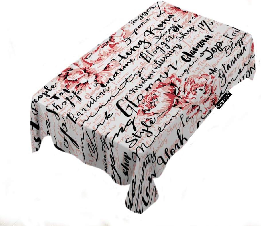 Moslion Vintage Flower Print Inch 60x104 送料無料/新品 Handwriting Tablecloth 気質アップ