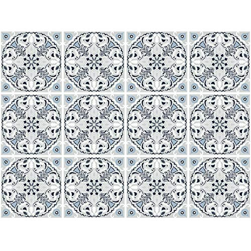 decalmile 12 Stück Fliesenaufkleber 15x15cm Vintage Grau und Blau Marokkanische Wandfliese Fliesensticker Küche Badezimmer Deko
