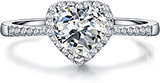 Paitse 925 Sterling Silver Heart Shape 1 Carat Anniversary Promise Wedding Band Engagement Ring