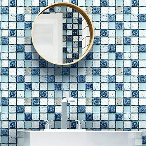 20 Piezas Pegatinas de Baldosas, 10 x 10 cm Autoadhesivas Pegatinas para Azulejos de Pared PVC Adhesivo para Azulejos Vinilo Decorativo Adhesivos de Mosaico para Suelos y Paredes
