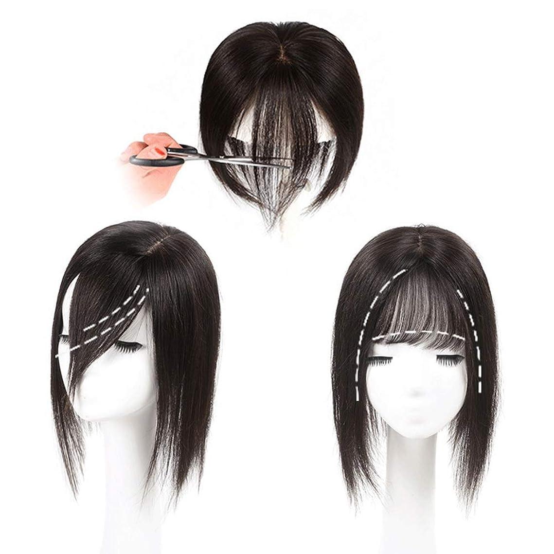 武装解除腹痛横向きHOHYLLYA フルハンド織物リアルヘアロングストレートヘア女性のための追加の見えないシームレスなかつらヘアピースファッションかつら (色 : [7x10] 17cm black)