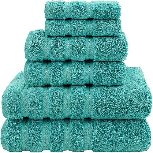 American Soft Linen Premium, Luxury Hotel & Spa Quality, 6 Piece Kitchen & Bathroom Turkish Genuine Cotton Towel Set, for Maximum Softness & Absorbency, [Worth $72.95] Turquoise Blue