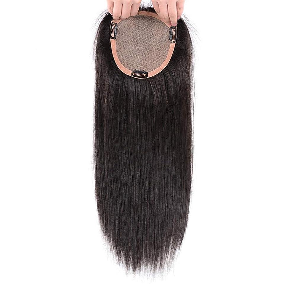 観光舗装する再発するBOBIDYEE 女性の完全な手織り針本物の髪 - 白髪目に見えないかつらを覆っている長いストレートヘアートップ詰め替え用ロールかつらロールプレイングかつら (色 : [15x16] 35cm natural black)
