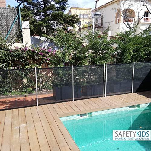 Valla de seguridad para piscinas. Protege a los niños y mascotas. Transparente, adaptable y desmontable. Se vende por tramos de 2m-3m-4m y 5m de largo por 1,22m de alto. Taladro 30mm (4 metros)