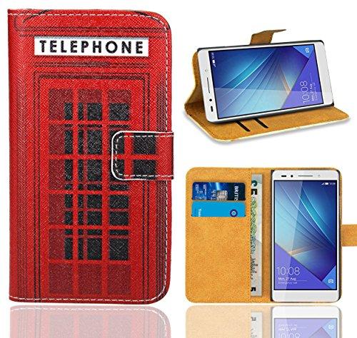 Huawei Honor 7 Handy Tasche, FoneExpert® Wallet Hülle Flip Cover Hüllen Etui Ledertasche Lederhülle Premium Schutzhülle für Huawei Honor 7 (Pattern 12)