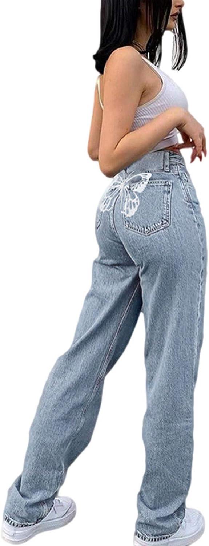 Women High Waist Jeans Wide Leg Denim Pants Boyfriend Loose Straight Leg Trousers Y2K E-Girl Streetwear