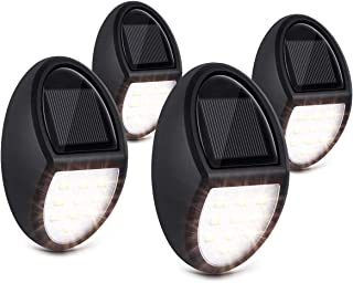 Solar Deck Lights, Nacinic Solar Powered Led Wall Lights Outdoor Waterproof - 10 Bright White Led Solar Fence Lights - Step Lights for Landscape Garden Patio Yard Security Stair Post Light 4pack