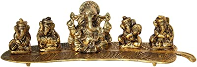 Handicrafts Paradise Goldplated Antique Metal Ganpati Sitting with 4 Musical