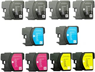 INKTONER 10 Pack Compatible LC61 LC-61 fits BROTHER Brother All-in-One Machines MFC-290C, MFC-490CW, MFC-5490CN, MFC-5890CN, MFC-6490CW, MFC-790CW, MFC-990CW.(4B,2C,2M,2Y)