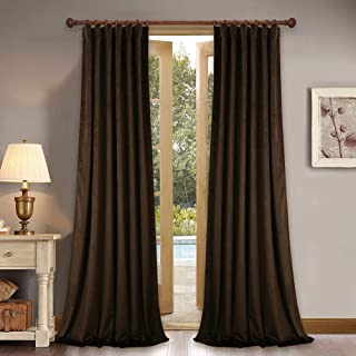 StangH Loft Velvet Curtains Blackout Drapes Interior Decor Large Window Covering with Rod Pocket & Back Tab for High Ceiling/Backdrop, Chestnut, W52 x L120-inch Each Panel, 2 Pcs