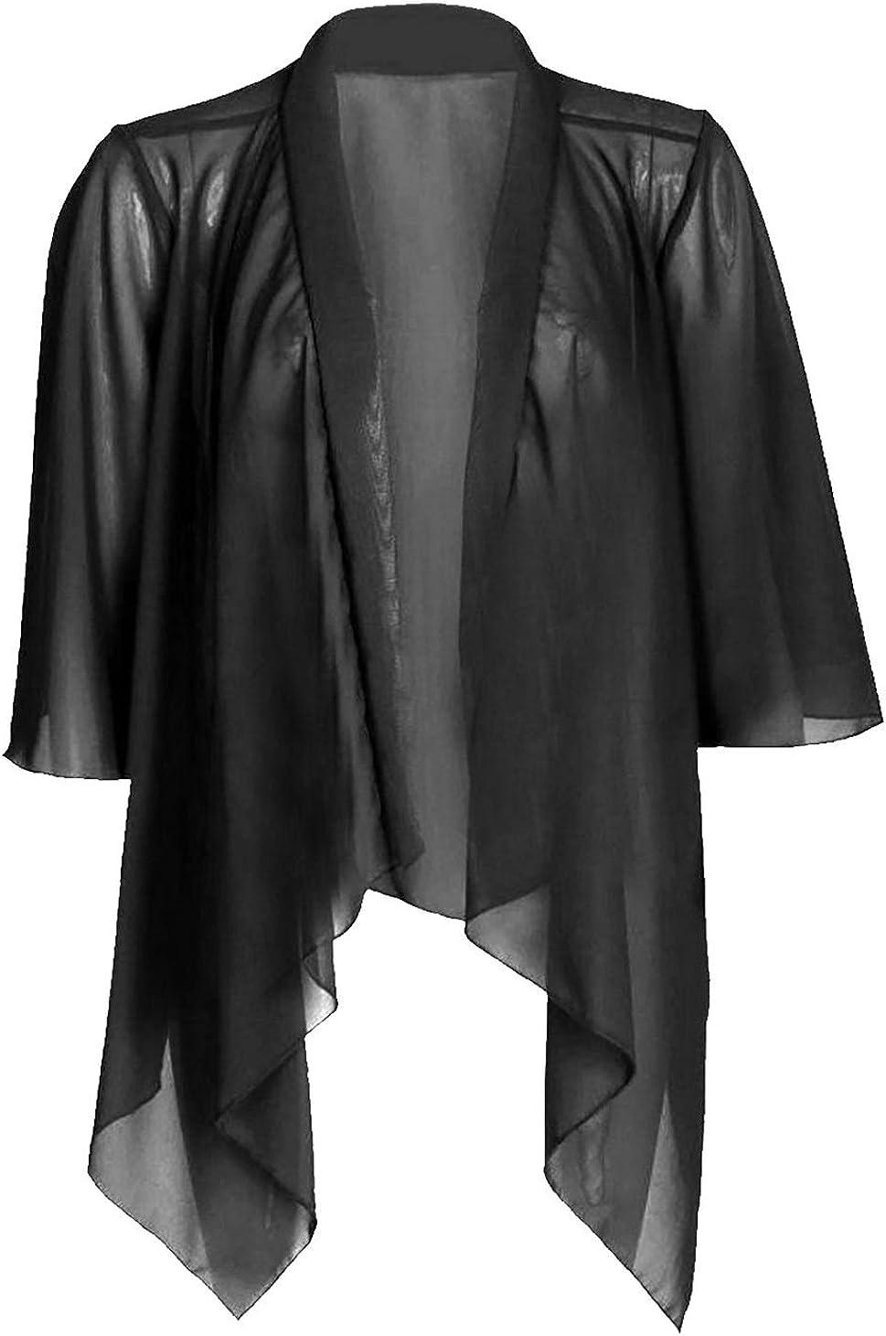 Rimi Hanger Womens Plain Mesh Chiffon Waterfall Cardigan Ladies Sleeve Kimono Shrug Top S/XXXL