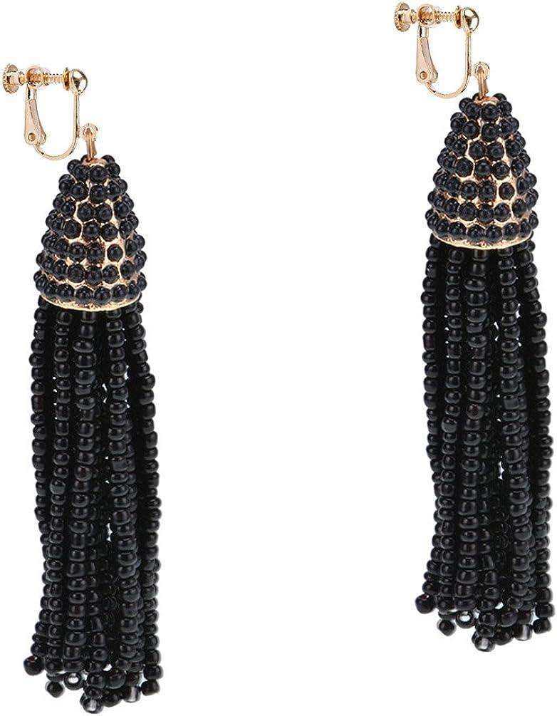 Dangle Earring Clip on Screw Back Women's Beaded Tassel Long Fringe Drop Fashion Jewelry Black