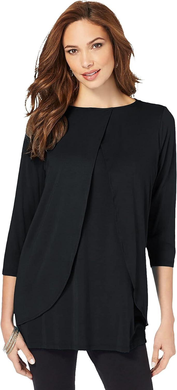 Roamans Women's Plus Size Keyhole Ultra Femme Tee Shirt