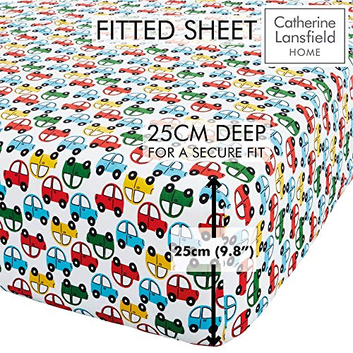 Catherine Lansfield Transport Easy Care Single Fitted Sheet Bright
