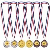 6 Piezas de Medalla de Ganador en Estilo Olímpico Premios de Niños con Cinta Medallas de Ganador de Metal Dorada Plateada Bronce