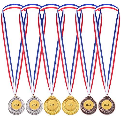 6 Stücke Kinder Olympic Stil Gewinner Medaillen Auszeichnungen mit Band Gold Silber Bronze Metall Sieger Medaillen