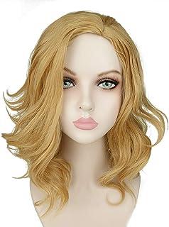 CrazyCatCos Captain Marvel Cosplay Wigs Carol Danvers Hairs Beige Golden Short Curly Wave for Women